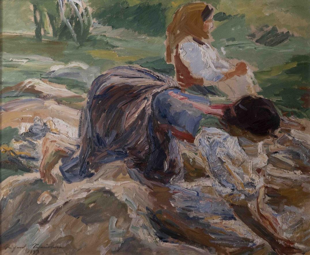 "Richard Scheurlen ""Lavandaie al fiume"" - 1937 olio su tela"