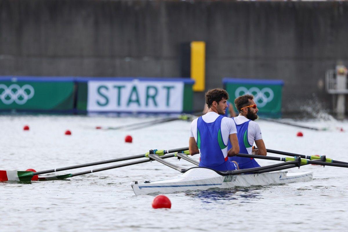 Stefano Oppo in coppia con Pietro Ruta ai Giochi Olimpici di Tokyo. 📷 Canottaggio.org
