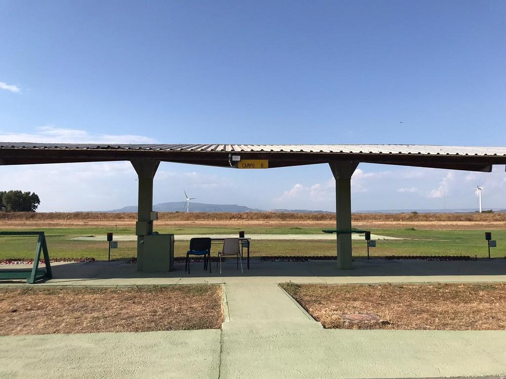 Un'area di tiro nel campo di tiro a volo di Pabillonis